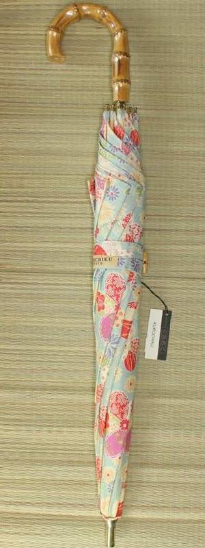日傘 丸花 水色