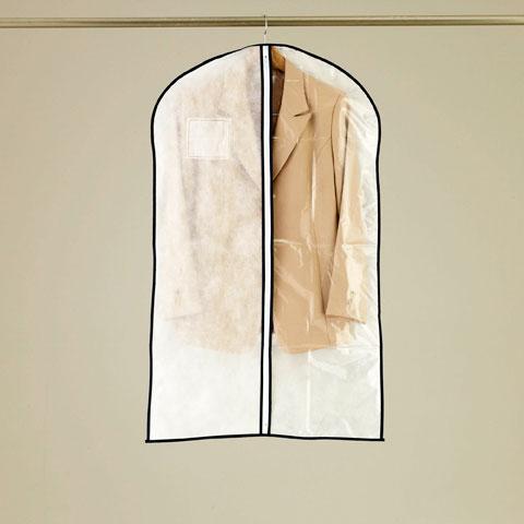 中の洋服の見やすさを優先するなら… 1 2透明タイプ センターファスナー洋服カバースーツ KS176 ジャケットサイズ SALE開催中 新品 3枚入