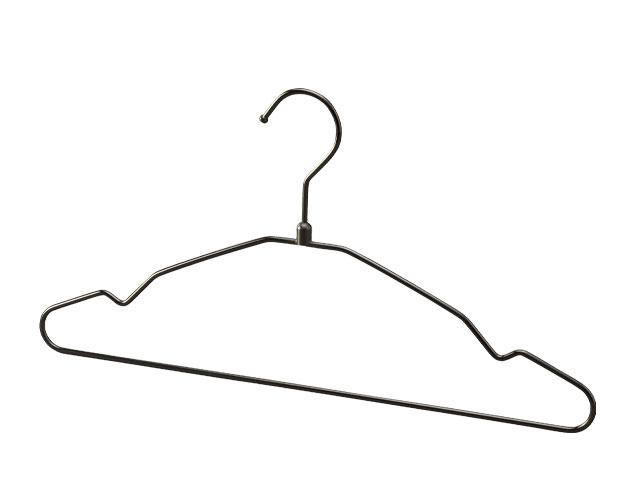 シングルスチールワイヤーハンガーブラックニッケルメッキ 肩幅38cm S38-BN 100本セット