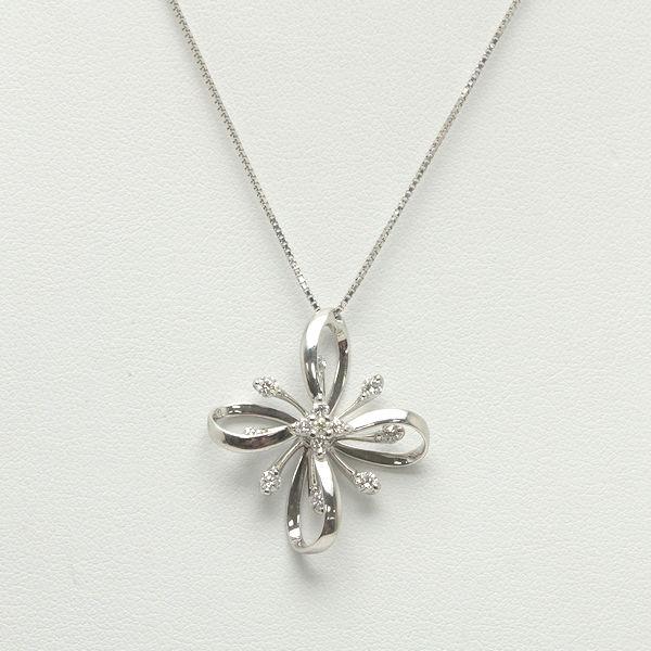 K18WG ネックレス ダイヤモンド 0.60ct 45cm 7.0g ベネチアンチェーン 18金 ホワイトゴールド 81802【中古】