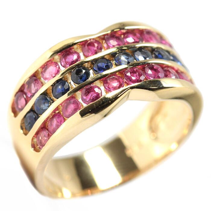K18 天然 ルビー ブルーサファイア リング 11号 18金 イエローゴールド 指輪 14017【中古】