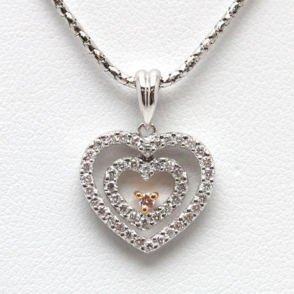 K18WG ハートモチーフネックレス ダイヤモンド 上等 0.48ct 中古 安い 40cm イタリア製 14531