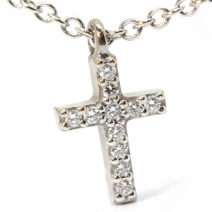 ティファニー メトロクロス・ミニ ペンダント ネックレス ダイヤモンド K18WG 750 13760【中古】