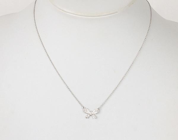 18金 蝶モチーフ ホワイトゴールド 0.16ct ダイヤモンドネックレス 14723 【中古】 K18WG 40.5cm