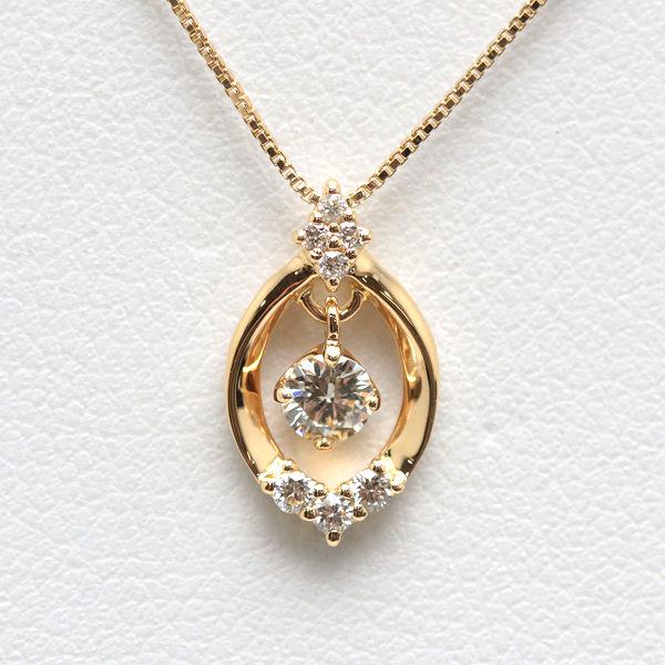 0.12ct/0.06ct K18 ダイヤモンドネックレス 【中古】 40cm 18金 14901 ゴールド ベネチアンチェーン