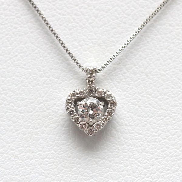 Pt850 Pt900 ハートモチーフネックレス 41cm ダイヤモンド 0.12ct 0.08ct プラチナ ベネチアンネックレスチェーン 14463 【中古】