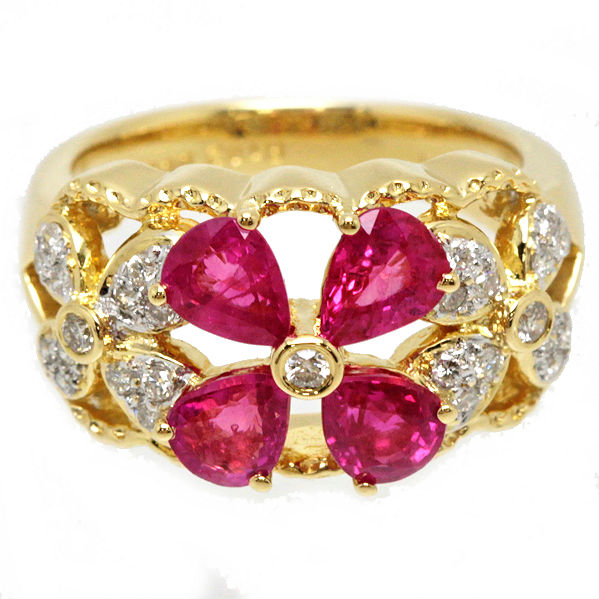 美品 K18 YG 天然コランダムルビー 1.82ct ダイヤモンド 0.20ct リング フラワー 8号 約7.2g ソーティング 19201【中古】
