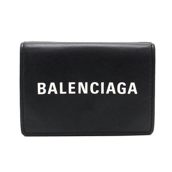 BALENCIAGA バレンシアガ エブリデイ コンパクトミニ財布 516402 DLQ4N イタリア製 レザー 三つ折り財布 13519 【中古】