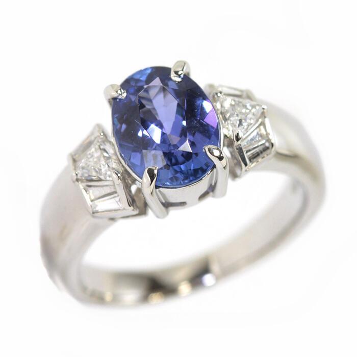 Pt900 タンザナイト リング 1.64ct ダイヤモンド 0.24ct プラチナ 9号 指輪 14025 【中古】