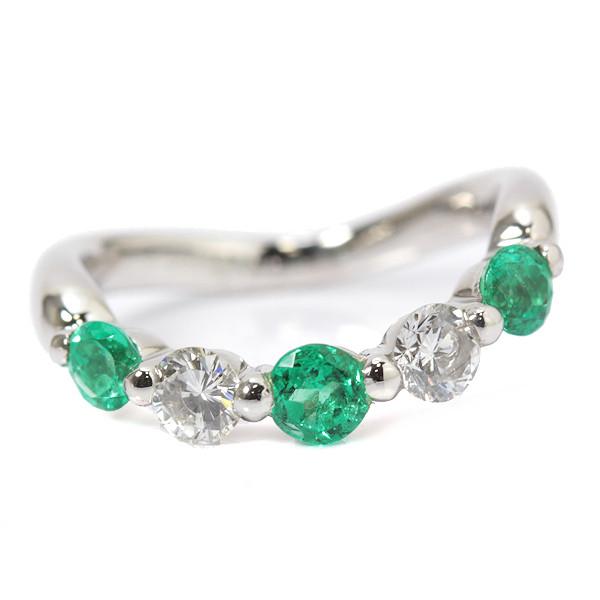 【美品0.45ct】エメラルド ダイヤモンド リング 指輪 Pt900 0.35ct 9号 02688【中古】