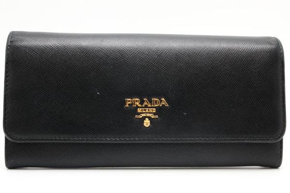 662e1665cdf4 PRADA プラダ 二つ折り長財布 サフィアーノレザー 黒 レディース 93809 【】