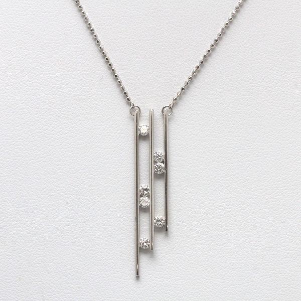K18 ダイヤモンドデザインネックレス 42cm 0.50ct 18金 ゴールド カットボールチェーン 13491 【中古】