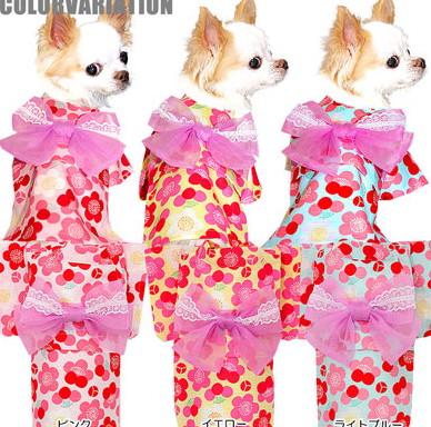 夏祭りや花火大会で人気者になっちゃおう 犬 商舗 服 犬の服 ドッグウェア 《コサージュ別売》梅鞠 うめまり ゆかた 浴衣 201805 和柄 ダックス 着物 トイプードル ペットウェア ヨーキー チワワ 定価の67%OFF かわいい タムベディ お祭り