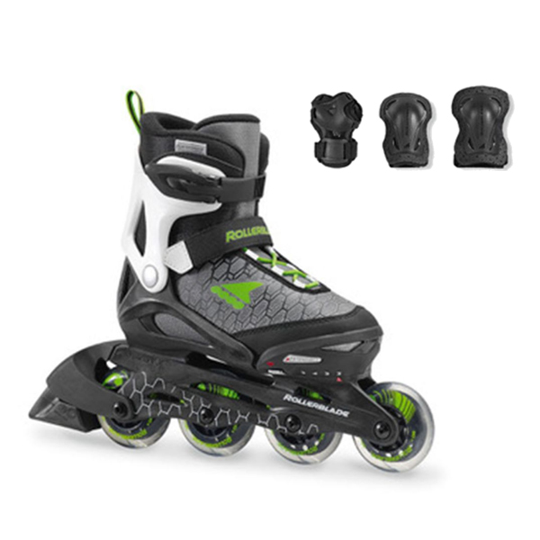 Rollerblade〔ローラーブレード ジュニアインラインスケート〕COMBO〔BLACK/GREEN〕【プロテクター付】【サイズ調整可能】