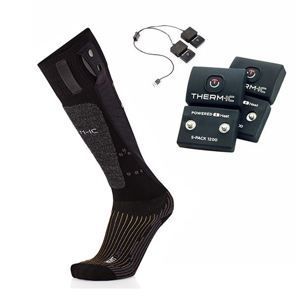 X-SOCKS〔エックスソックス〕パワーヒートソックス ユニ〔Powersocks Heat Uni〕T45-0100-003〔ブラック/グレー〕 + Sバッテリーパック1200〔S-Pack 1200〕T41-0102-300【送料無料】 靴下