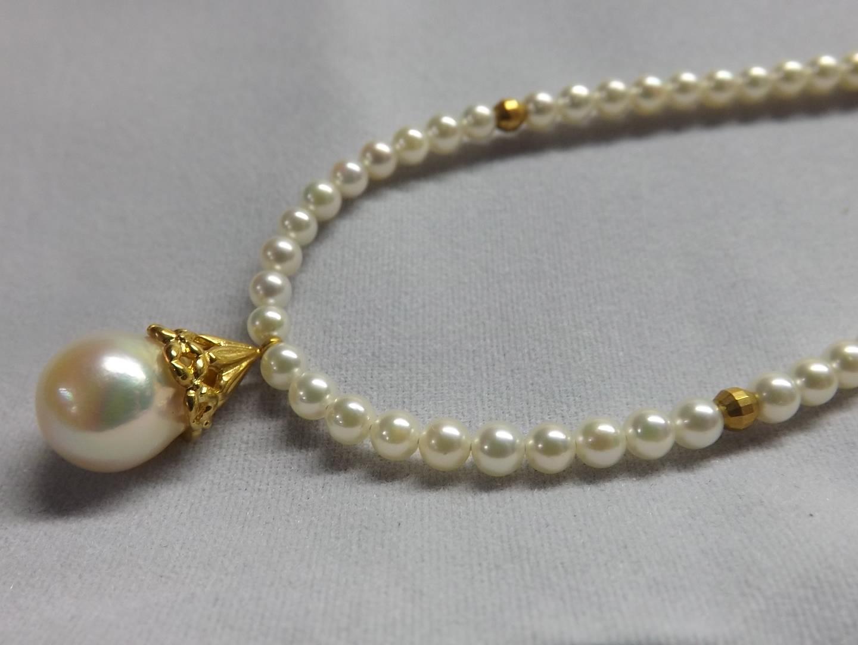 【手作り】あこや真珠 K18 デザイン ネックレス 【送料無料】 #24 あこやパール 真珠 パール Pearl