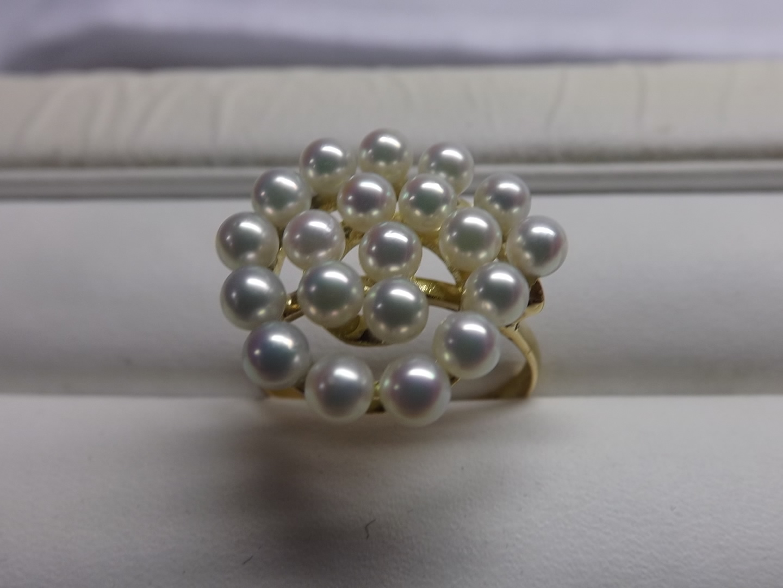 【手作り】あこや真珠 K18 リング 【送料無料】 #B 指輪 あこやパール 真珠 パール Pearl