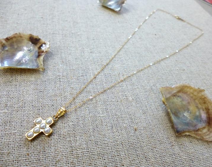 【工房手作り】 K18 あこや真珠 クロスモチーフ ネックレス 【送料無料】 #58 あこやパール 真珠 パール Pearl 十字架