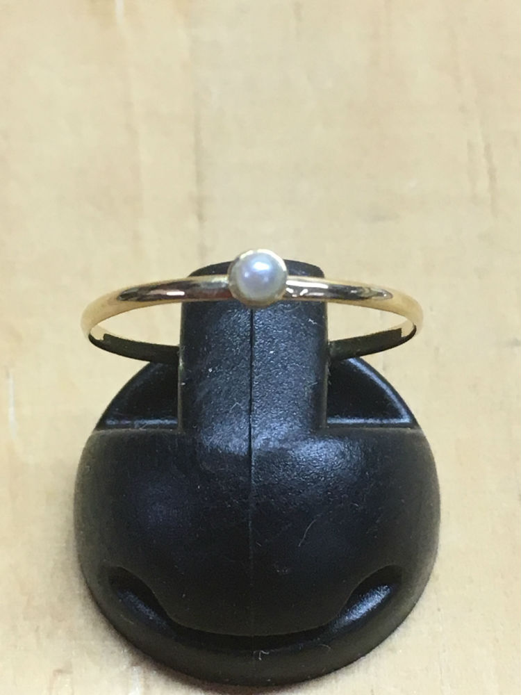 【工房手作り】K18 石付 シンプル デザインリング ピンキーリング 極細 華奢 本真珠【送料無料】#216 真珠 パール Pearl