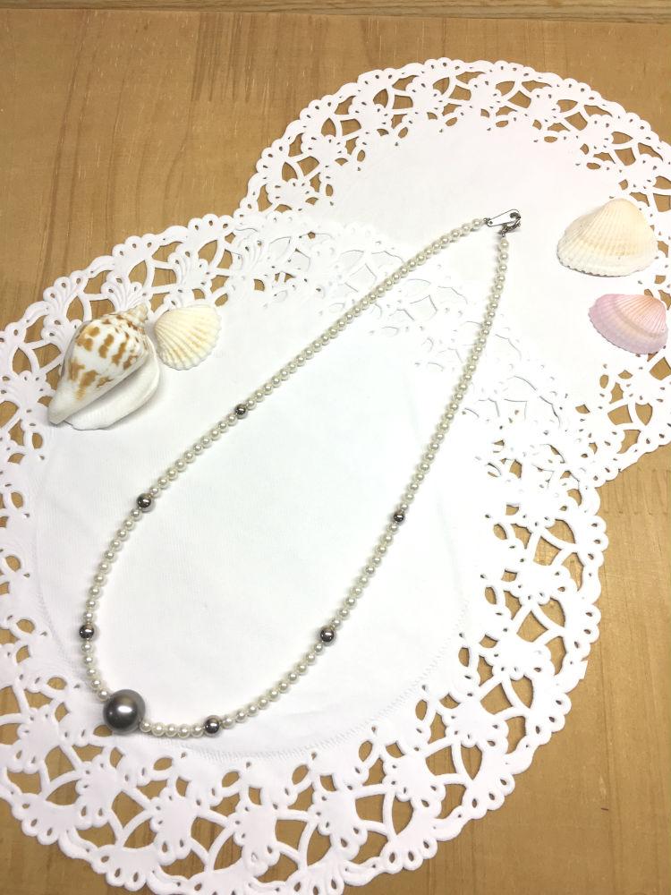 【工房手作り】pt850 あこや真珠 タヒチ 黒真珠 ネックレス 【送料無料】 #226 あこやパール 真珠 パール Pearl