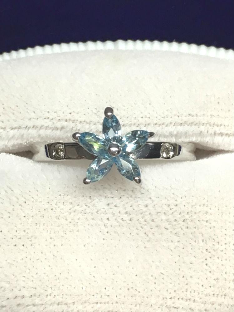 【送料無料】 K18WG リング アクアマリン Aquamarine ダイヤモンド Diamond 指輪 フラワーモチーフ 花 #46