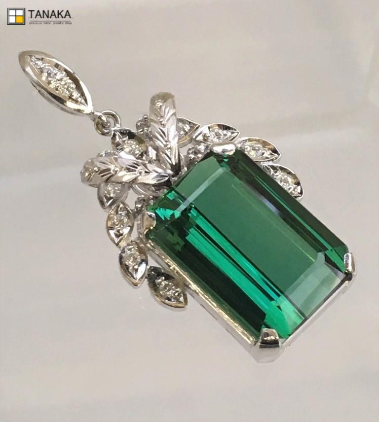 【送料無料】 Pt900 トルマリン ダイヤモンド ペンダントトップ ペントップ #262 プラチナ ダイヤ Diamond 豪華 華やか 綺麗 大きい 特別価格