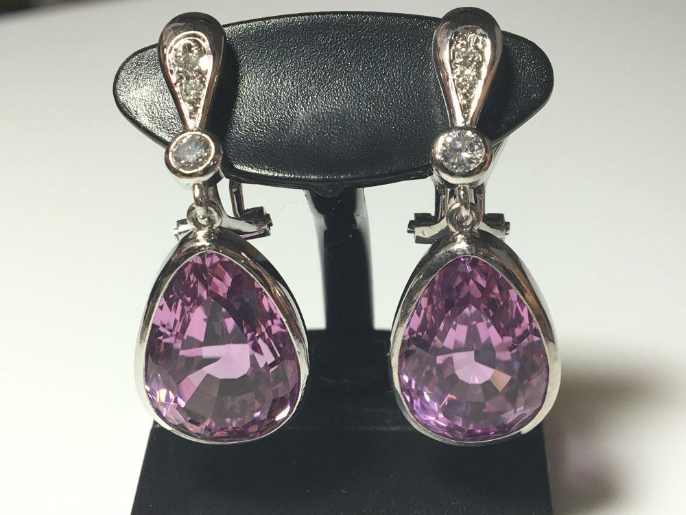 【送料無料】 Pt900 クンツァイト ダイヤモンド イヤリング #281 耳飾り kunzite ダイヤ Diamond 豪華 華やか 綺麗 特別価格