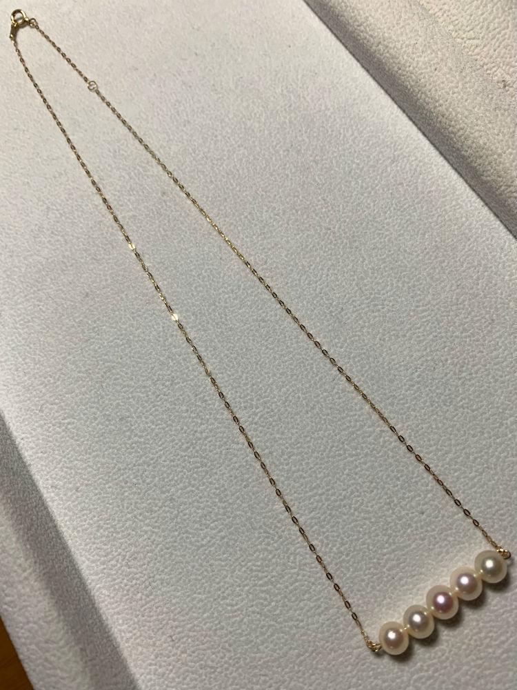 【 送料無料 】 手作り あこや真珠 シンプル ラインペンダント K18 チェーン #306 【受注生産】 あこやパール 真珠 パール Pearl 約6.0~6.5mm プレゼント 贈り物 にも!