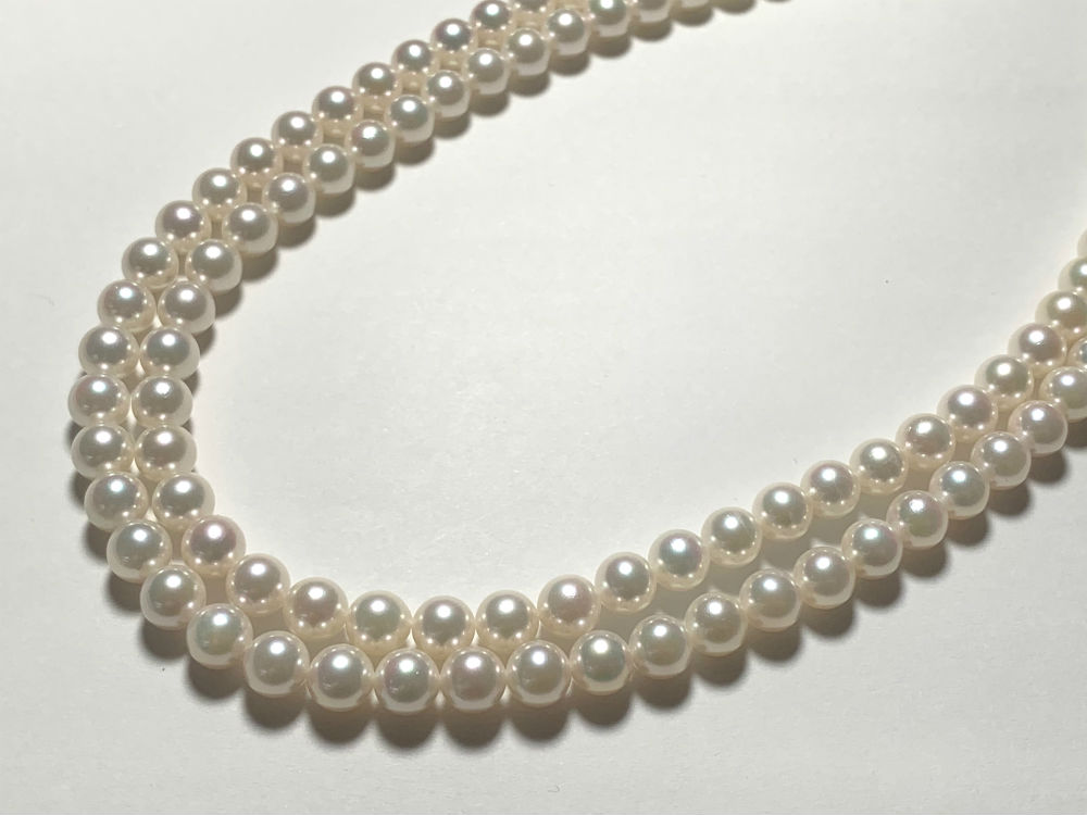 【 送料無料 】 SV あこや真珠 2連ネックレス #340 シルバー あこやパール 真珠 パール Pearl 伊勢志摩