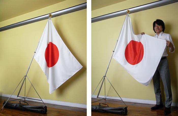 日本製 日の丸5点セット 高級感のあるポリエステル生地 90×135cm テトロンスエード ≪旗、2mポール、金球、三脚台、手提げバック≫ 日本製 掲揚 式 会議 ショップ限定