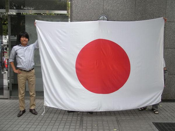 日本製 日の丸(日本国旗) 180×270cm テトロンスエード生地 国旗 光沢のある生地