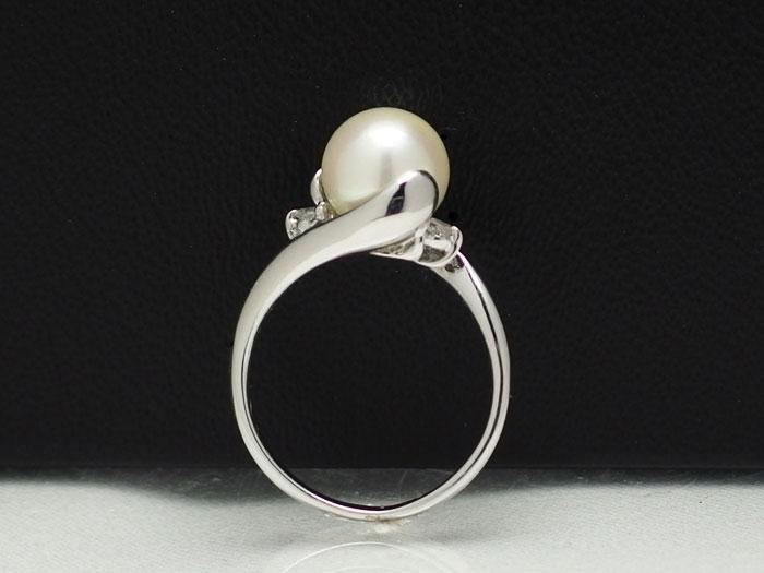 【割引対象外】デザインリング枠金具 Pt製 8~9mm珠サイズ対応 ダイヤ0.06ct【真珠 パール】