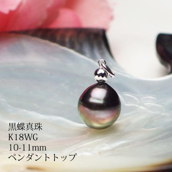 鮮やか一粒の黒蝶真珠にちょっと変わったワンポイント金具 黒蝶真珠 K18WG製 10-11mmデザインペンダントトップ 送料無料 お中元 パール ネコポス便も承ります あす楽対応 真珠 超人気 smtb-m