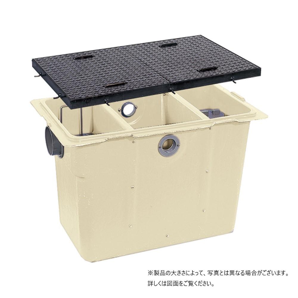 前澤化成 FRP グリストラップ パイプ流入埋設型 + 鉄蓋・耐圧t-2軽荷重:GT-50P-N + 鉄蓋 軽荷重 T-2∴∴ (82361 81521) グリース 前沢 阻集器 マエザワ 厨房 排水 桝 マス 鋼板製蓋