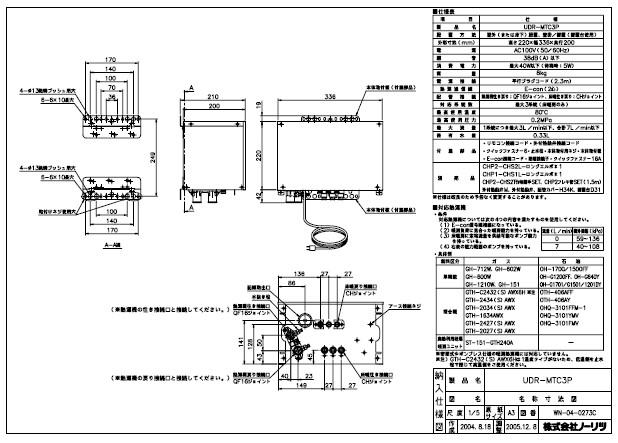 § ノーリツ セール品 激安セール ヘッダSET+BOX付∴ UDR-MTC3P:0764801