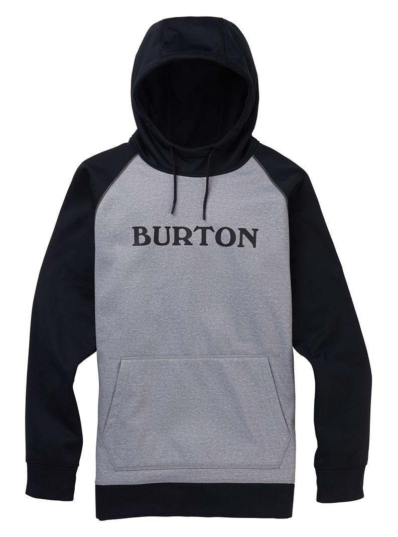 Men's Burton Crown Bonded Pullover Hoodie 2020FW Gray Heather / True Black