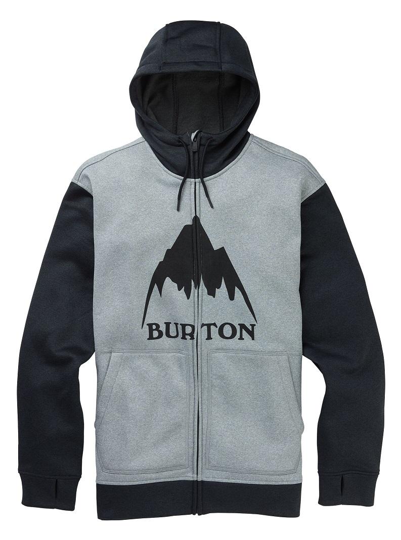 Men's Burton Oak Full-Zip Hoodie 2020FW Gray Heather / True Black