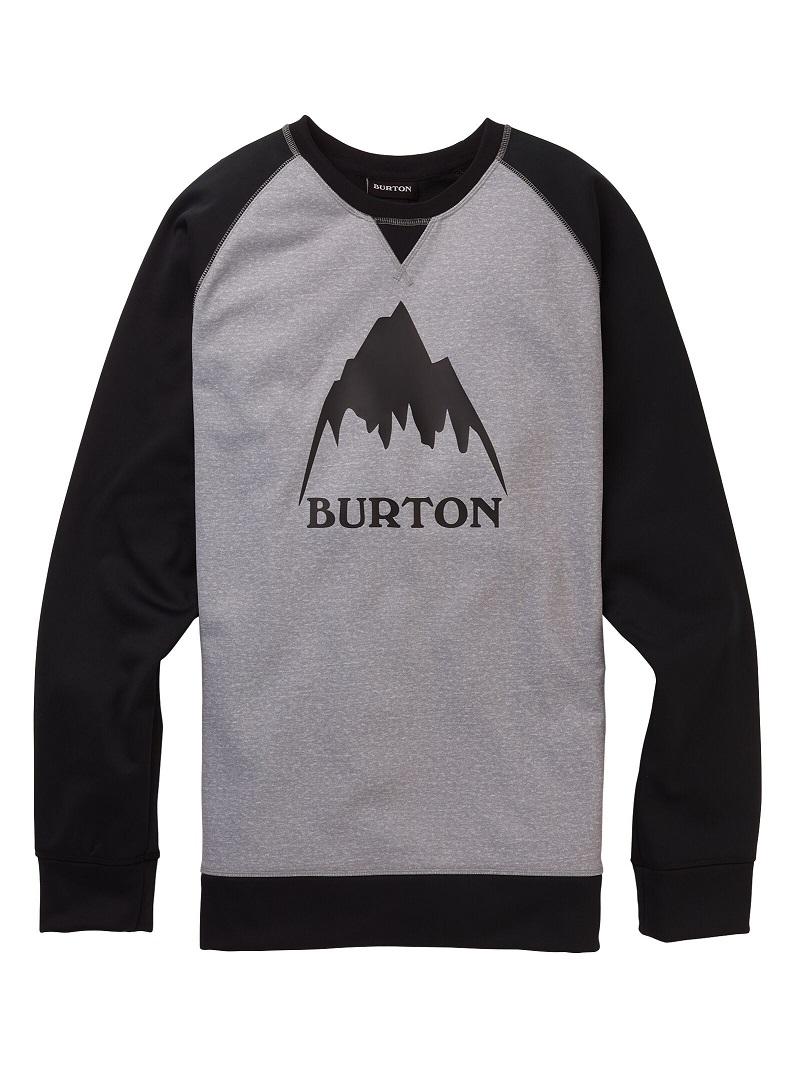 Men's Burton Crown Bonded Crew 2020FW Gray Heather / True Black