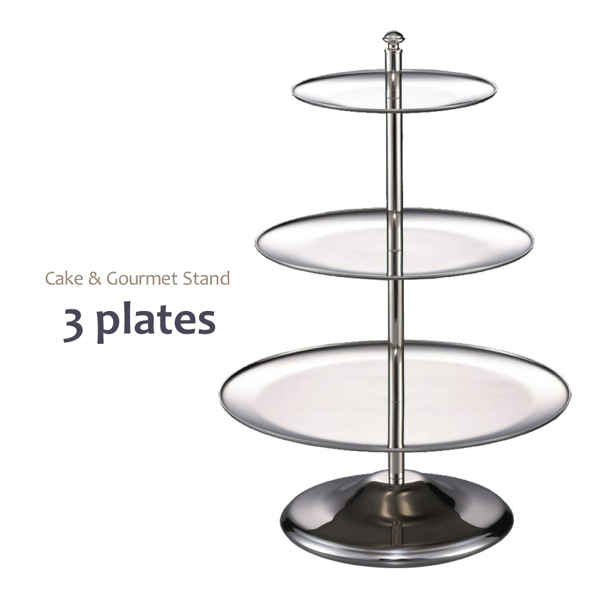 【送料無料】ケーキスタンド ケーキ台 3段【高級ステンレス使用】高さ:34cm