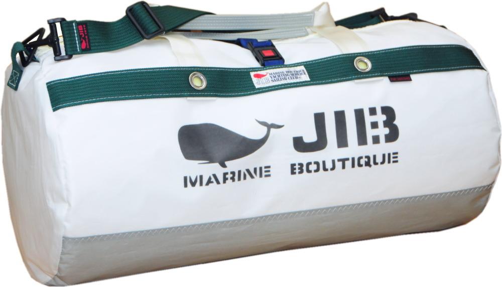 JIB ダッフルバッグMボーダー/プラスティックパーツ仕様 DMB190 グレー×モスグリーン 57×φ29cm 約37L