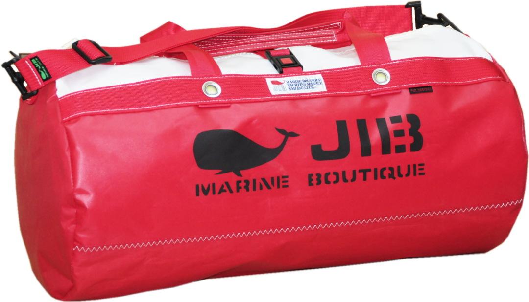 JIB ダッフルバッグMボーダー/プラスティックパーツ仕様 DMB170 モノカラー・レッド 57×φ29cm 約37L