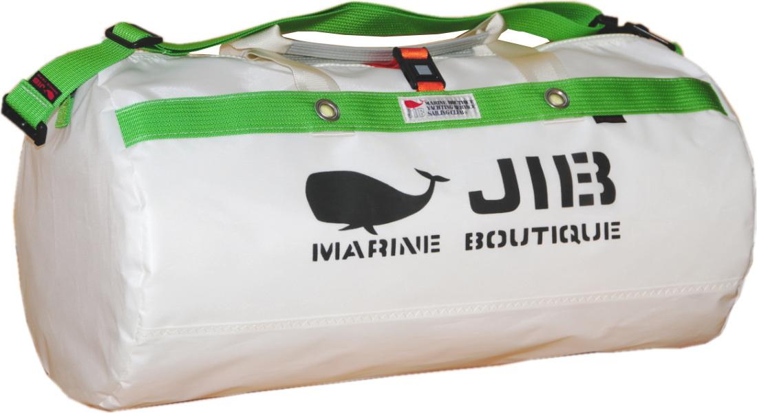 JIB ダッフルバッグMボーダー/プラスティックパーツ仕様 DMB190 ホワイト×グリーン×オレンジストラップ 57×φ29cm 約37L