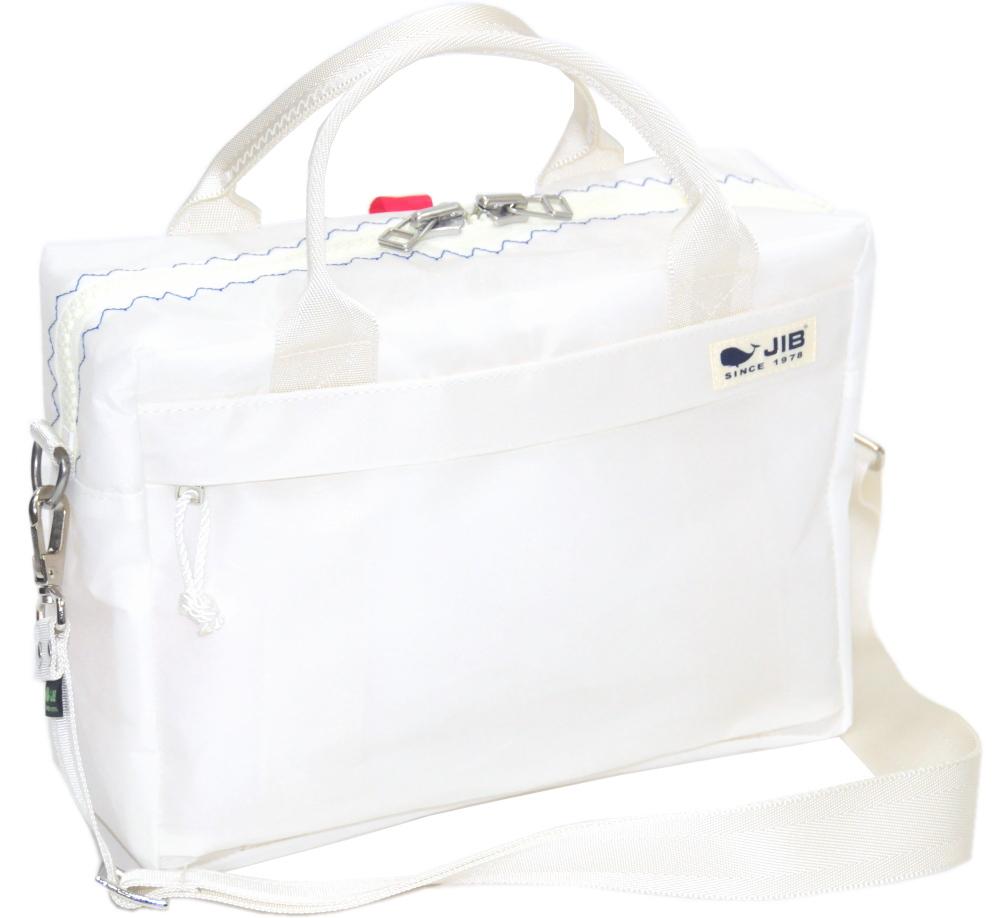 JIB キャリングバッグS CABS158 ホワイト×ブルーステッチ(レッドスナップ)29.5×21×9cm