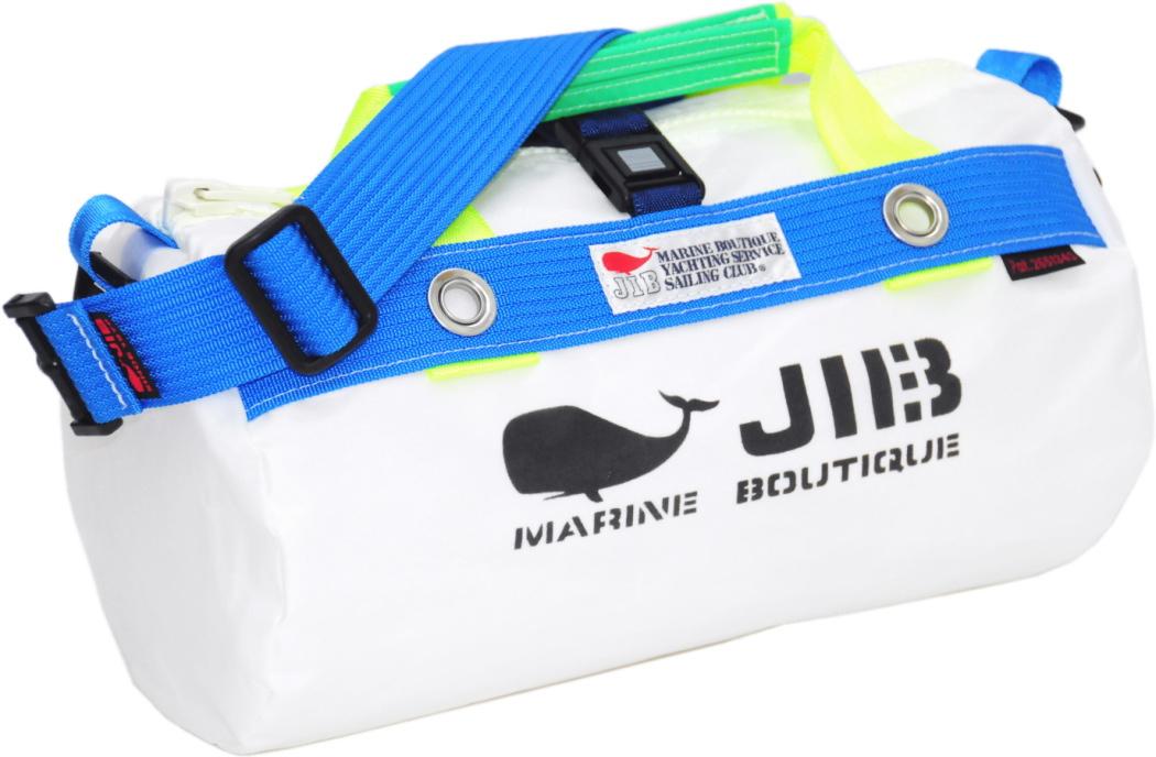 JIB ダッフルバッグSS DSS120 ホワイト×ブルー W32×φ17cm 約7L