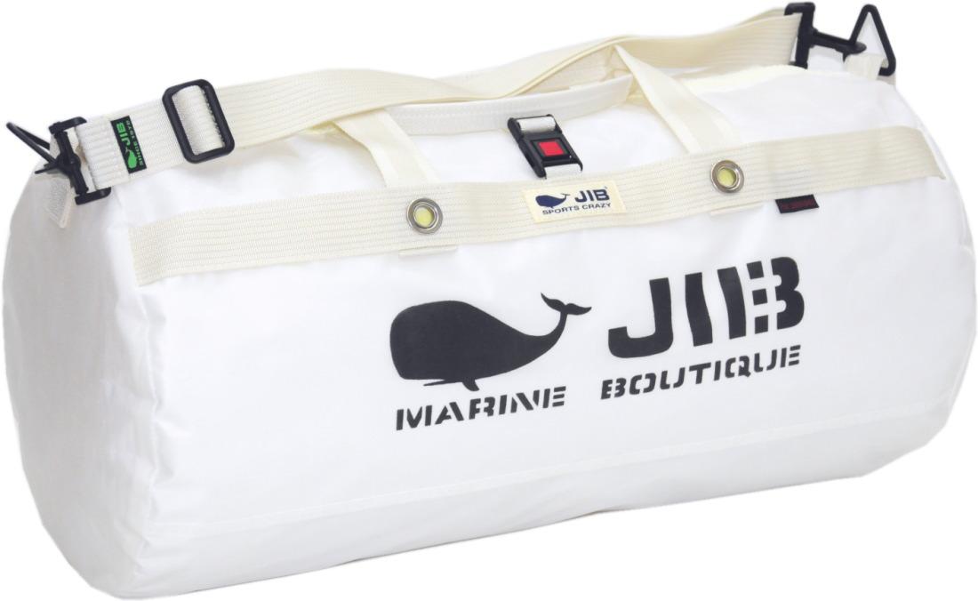 JIB ダッフルバッグMボーダー DMB190 ホワイト 57×φ29cm 約37Lポケット付き