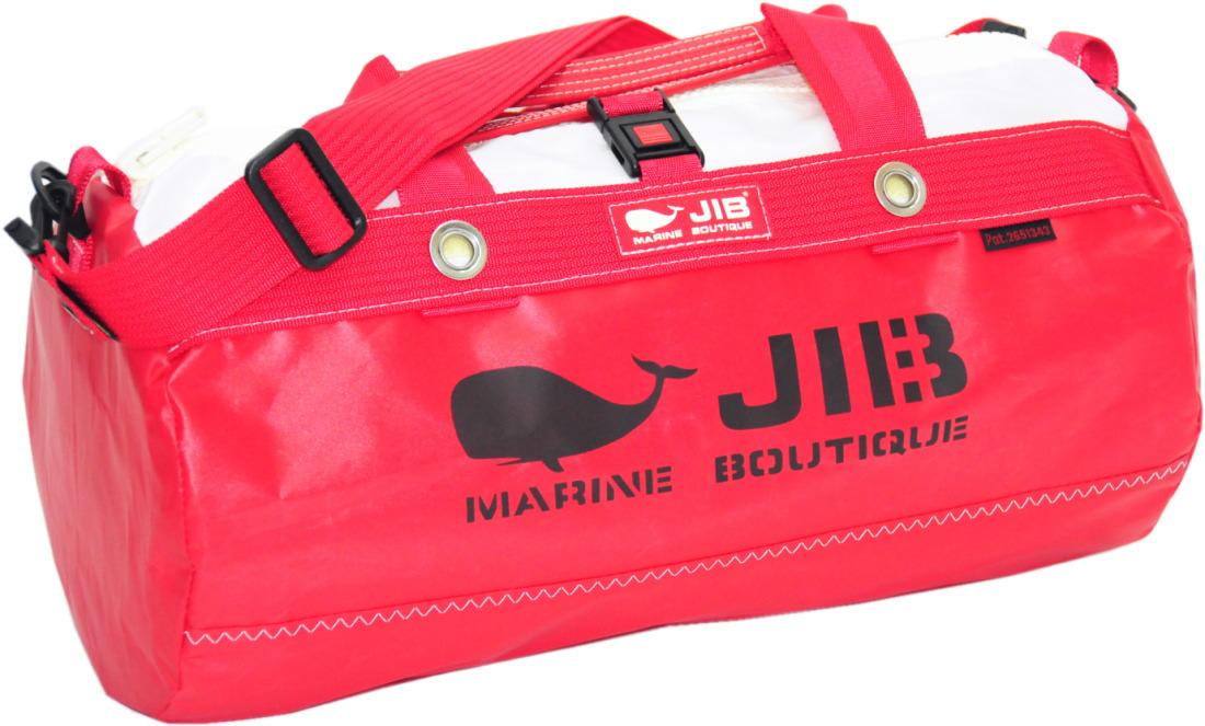 JIB ダッフルバッグSボーダー DSB160 プラパーツ仕様 レッド 42×φ22cm 約15L