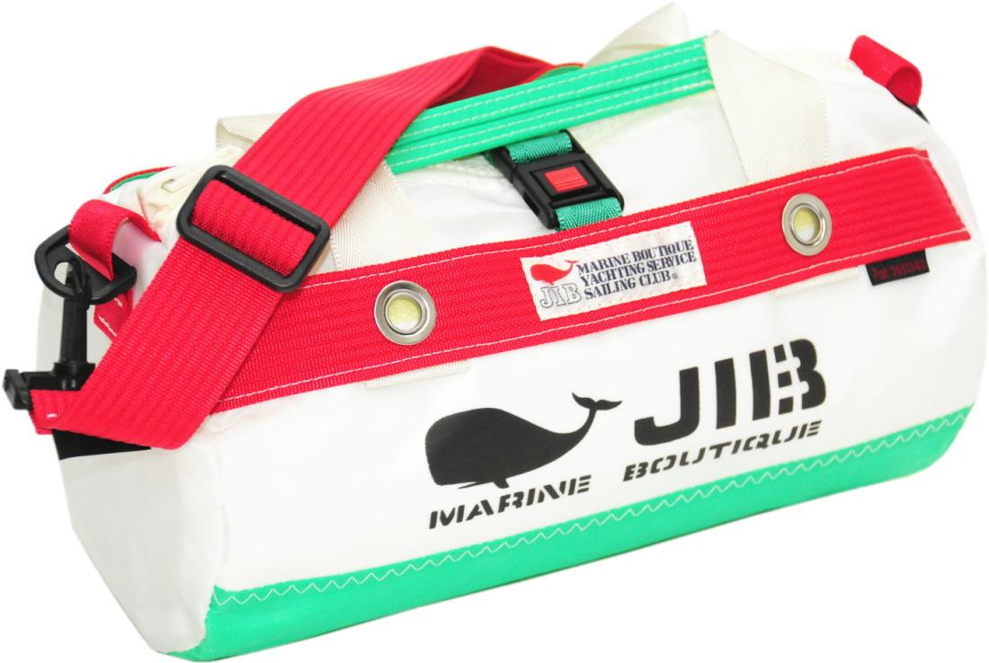 JIB ダッフルバッグSSボーダー DSSB146 エメラルドグリーン×レッド W32×φ17cm 約7Lポケット付き