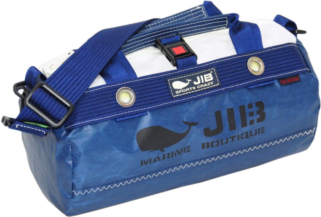 JIB ダッフルバッグSSボーダー DSSB146 モノカラー・ネイビー W32×φ17cm 約7Lポケット付き