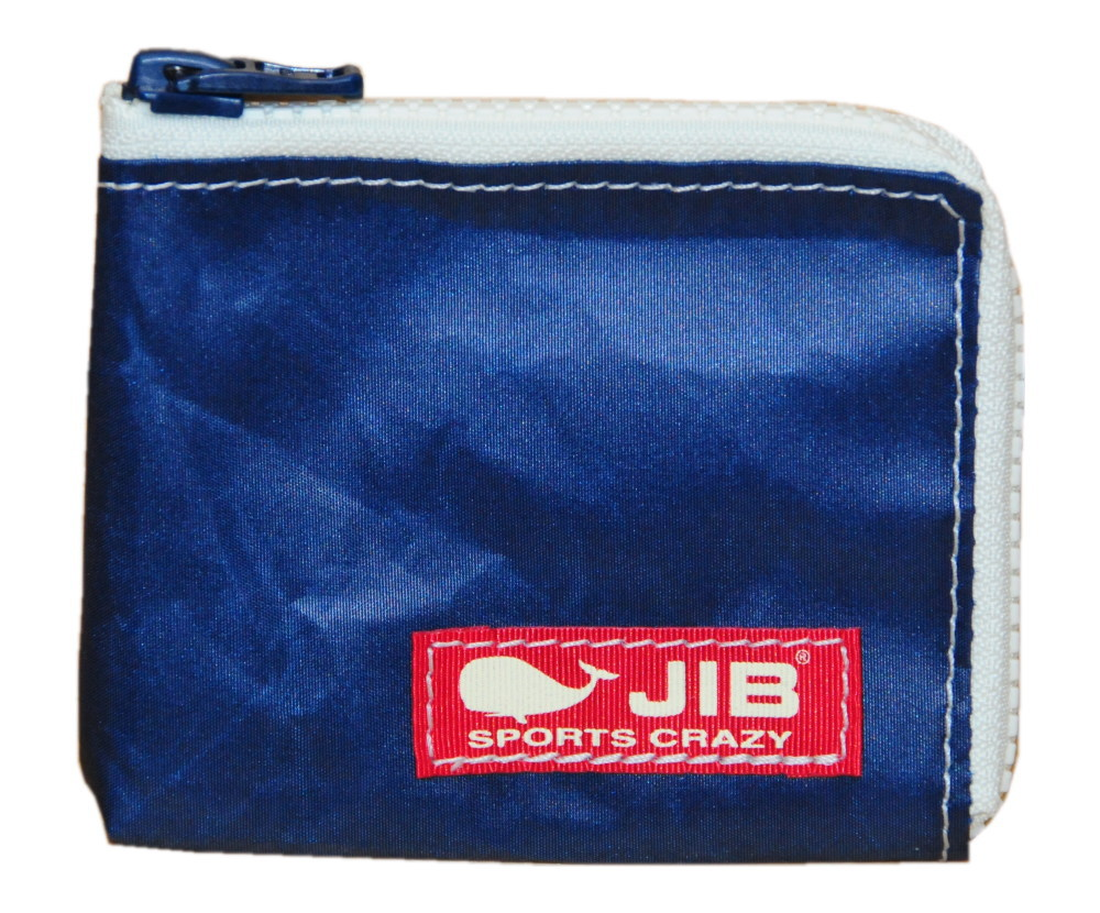 二つ折りのお札が入る財布カードケースや小物入れとしても  JIB マイクロクラッチ MC14ネイビー×ホワイト/レッドタグ12×9.5×1cm