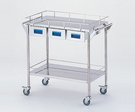 アズワン(AS ONE) ストレージステンレスカート 二段 取手ブルー 750×450×835mm(8-7466-03)